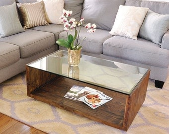 See U Table - Custom modern coffee table design with glass top and reclaimed wood