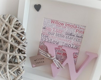 Personalised word art box frame. Perfect gift for weddings, christenings, birthdays, new baby