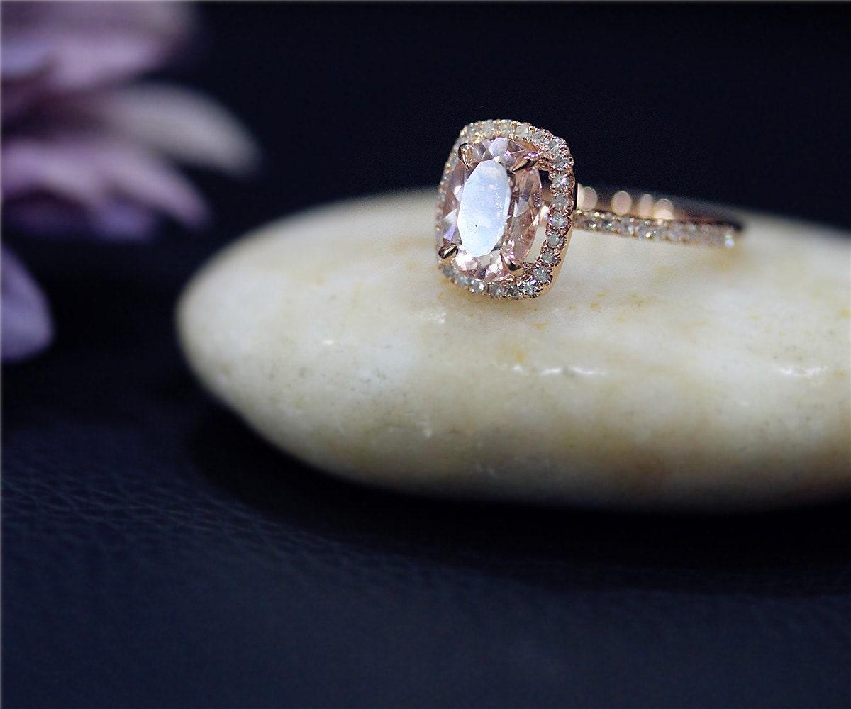 Engagement Ring 7x9mm Oval Cut Natural Pink VS Morganite Ring