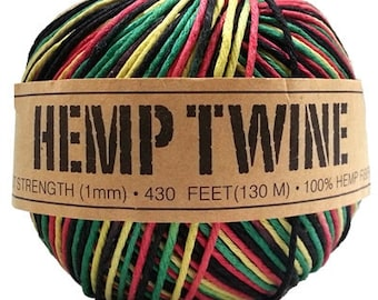 Dyed Hemp Twine, Rasta Color, 20lb test strength, 100 gm ball