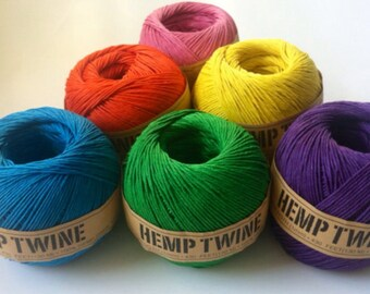 Dyed Hemp Twine, Assorted Colors, 20lb test, 100 gm ball