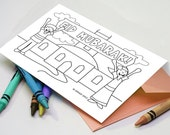 Hooray for the Eid - Printable, Kids coloring Eid Card for children, 5x7, DIY Greeting cards - for painting or coloring in.