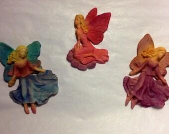 Fondant Fairy cake topper, 3 Piece Renaissance Fairies, Large