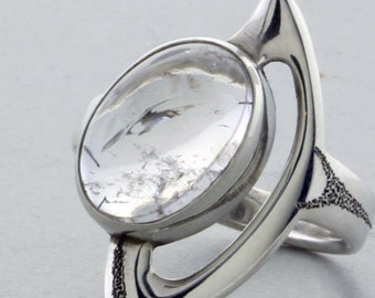 """Sterling Silver """"Carved"""" Ring W/Rutilated Quartz - Size 7"""