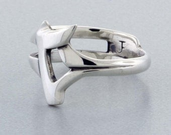 "Sterling Silver Ring, Hand ""Carved"" Ring - 8 1/2"