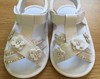 SWAROVSKI Aged 9-12 months Crib Shoes/Sandals Swarovski Customised for Babies