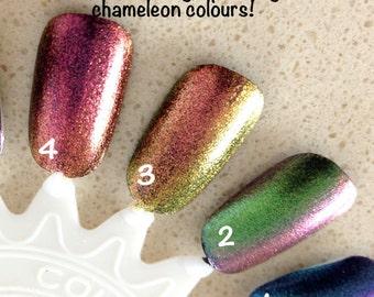 Sparkle Chameleon Pigments - colour travel pigments for nail polish and cosmetics, multipurpose.