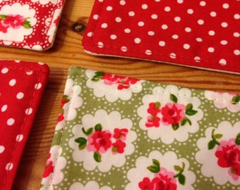4 handmade fabric coasters