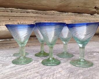 Set of Six Hand Blown Martini Glasses.