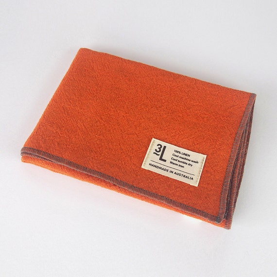 Orange Stonewashed Flax Linen Hand Towel With By Threelivesdesign