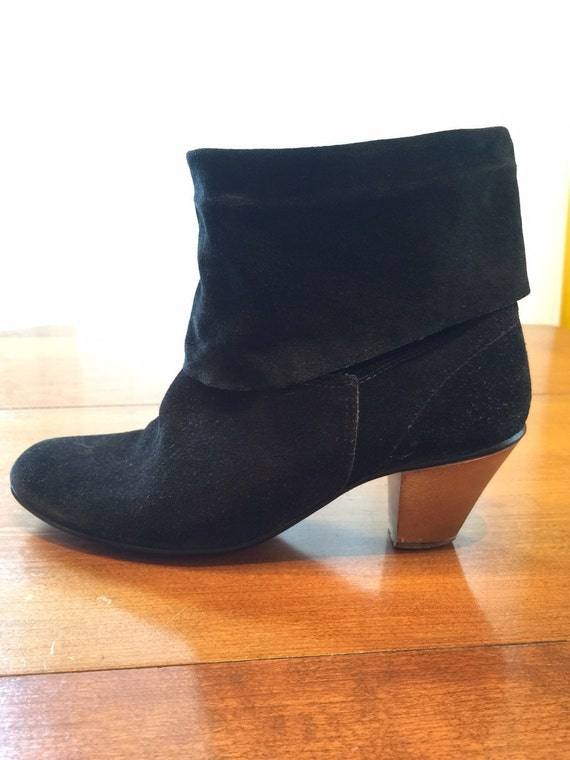 black suede slouch boots size 7 by whiteharthome on etsy