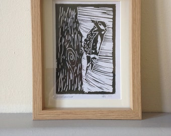 Woodpecker Linoprint A6 print