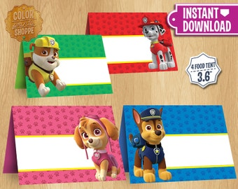 Paw Patrol Table Tents - INSTANT DOWNLOAD - Blank Set Food Tent Printable Cards Favors - Chase Skye Rubble Marshall