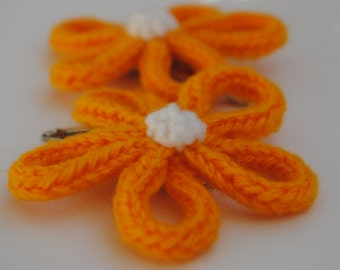 Knitted Flower Hair Clip in Yellow