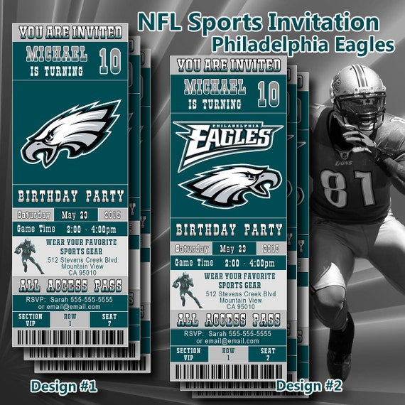 Printable Birthday Party Invitation Card Detroit Lions: Philadelphia Eagles NFL Birthday Invitation Football By