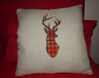 Tartan Stags Head Cushion Cover
