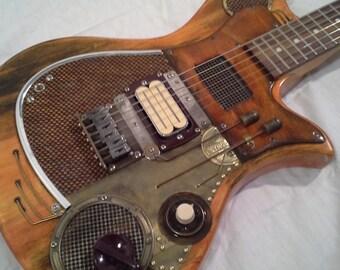handmade Custom steampunk junkpunk guitar synch 2 art vintage