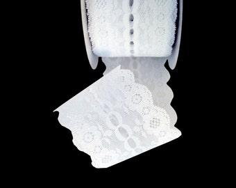 2 1/4 inch White White Floral Wedding Lace Trim - Ribbon - DIY Bows Wrapping Wreaths Home Decor Boquet Wrap Candle Wraps Belt - Vintage Look