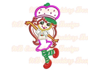 Strawberry Shortcake Embroidery Applique,  Machine Embroidery Design,  gr-043
