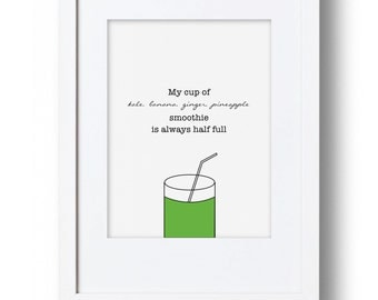 Green Smoothie Art Print / Vegan Art / Veggie Art / Kitchen Decor / Home Decor / Wellness Art / Kale Love