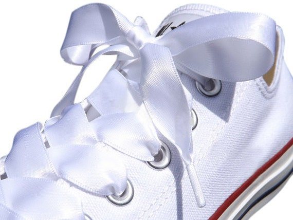 stunning white satin ribbon shoelaces shoe laces by