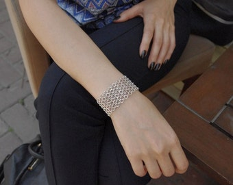 Hectagon Bracelet - Geometric Bracelet - Link Bracelet - Fashion Bracelet - valentines gifts