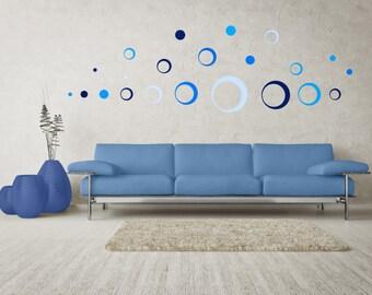 Wall Stickers Set - CIRCLES BLUE