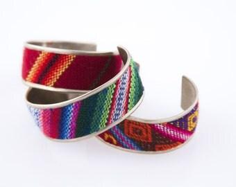 Aguayo Cuff bracelet. Bolivian textile cuff bracelet