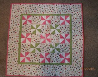 Pink and Green Baby Quilt , baby girl quilt, baby girl gift, nursery decor