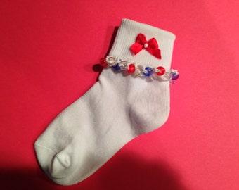 Custom 4th of July Beaded Socks