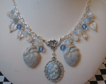 Cold Hearted~ frozen heart ice crystal skeleton gothic charm necklace