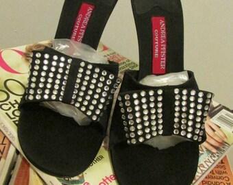 Brand New, Never Worn, Andrea Pfister Black Satin Rhinestone Slippers, High Heel Slip on Evening Mules, Women's Designer Shoes, Size 39