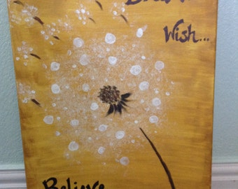 Gold, 16x20 canvas dandelion painting