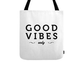 Good Vibes tote bag Good vibes only tote bag good vibes bag good vibes only bag typography tote bag typography bag Latte2Wear