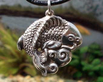 """Koi Pendant - Solid Sterling Silver on 22"""" Leather Cord - Item: K1"""