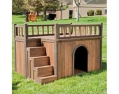Dog House Pet Wood Kennel Puppy Deck Raised Floor Staircase Outdoor Shelter Med