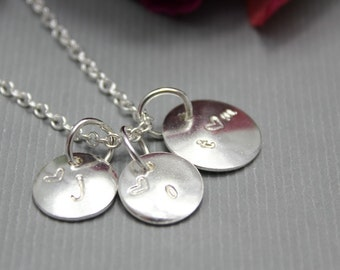 Sterling Silver Initial Necklace 3 charms