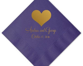 Heart Personalized Wedding Napkins