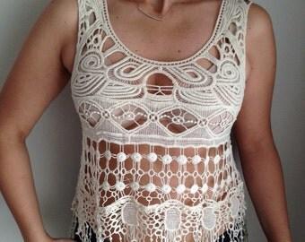 Crochet Blouse, Dantella Blouse, Summer Blouse, Beach Wear