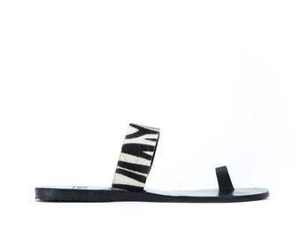 Toering ponyhair zebra effect leather sandals - Greek handmade sandals - 16 colors available