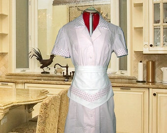 Light Pink Polka Dot Retro Diner Waitress Uniform DRESS Pinup Hostess Halloween Costume Custom Made