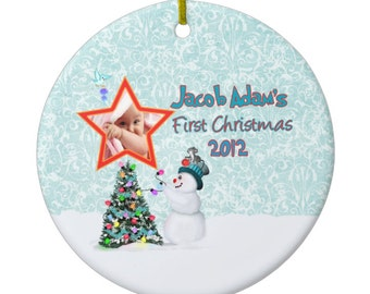 Keepsake BOY Baby's First Christmas PHOTO Ornament Personalized Snowman Bird Snowflake Custom Made