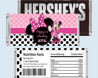 MINNIE MOUSE Candy Bar Wrapper, Hershey Bar Wrappers PRINTABLE