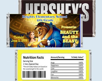Beauty and the Beast Candy Bar Wrapper, Hershey Bar Wrappers PRINTABLE