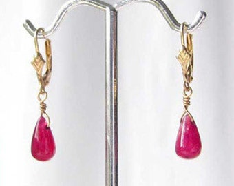 Sensational! 6cts Genuine, Natural RUBY And Solid 14k Gold Earrings! 008536