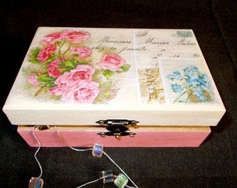 Wooden Box-Vintage Pink