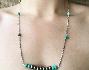 Pyrite and Chrysophase Necklace