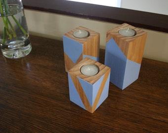 Timber Tea Light Candle Holder - Set of 3