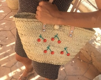 Small Palm bag with long handle natural skin and delicious cherries print