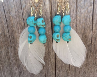 Gold Skull and Feather Earrings